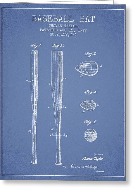Baseball Bat Greeting Cards - Vintage Baseball Bat Patent from 1939 Greeting Card by Aged Pixel