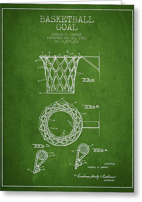 Nba Drawings Greeting Cards - Vintage Basketball Goal patent from 1951 Greeting Card by Aged Pixel
