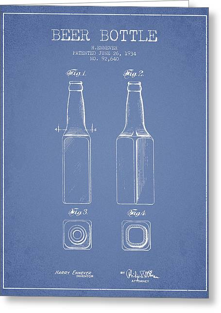 Vintage Beer Bottle Patent Drawing From 1934 - Light Blue Greeting Card by Aged Pixel