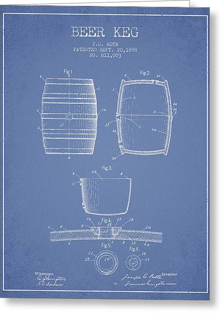 Barrel Greeting Cards - Vintage Beer Keg Patent Drawing from 1898 - Light Blue Greeting Card by Aged Pixel