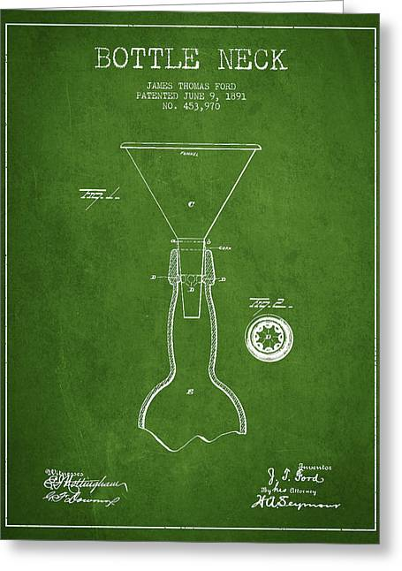 Beverage Digital Art Greeting Cards - Vintage Bottle Neck patent from 1891 Greeting Card by Aged Pixel