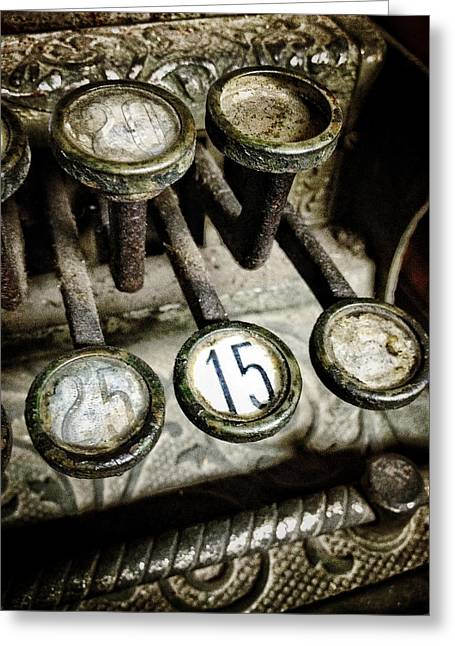 Numerical Greeting Cards - Vintage Cash Register Greeting Card by Natasha Marco