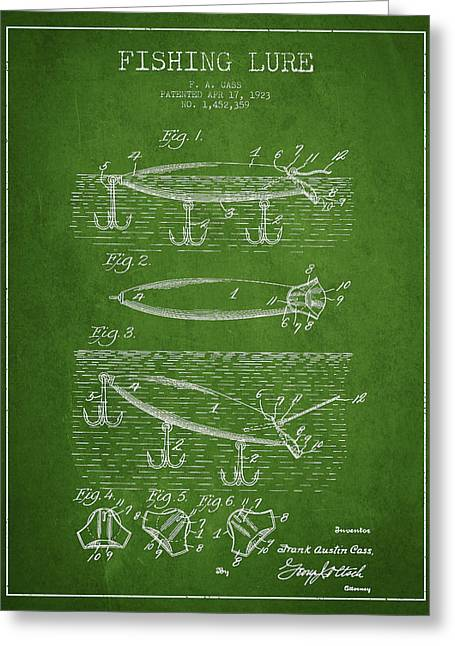Vintage Fishing Lure Patent Drawing From 1923 Greeting Card by Aged Pixel