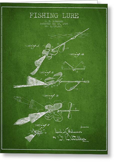 Tackle Greeting Cards - Vintage Fishing Lure Patent Drawing from 1929 Greeting Card by Aged Pixel
