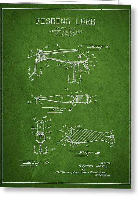 Tackle Greeting Cards - Vintage Fishing Lure Patent Drawing from 1956 Greeting Card by Aged Pixel
