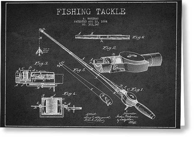 Fishing Greeting Cards - Vintage Fishing Tackle Patent Drawing from 1884 Greeting Card by Aged Pixel