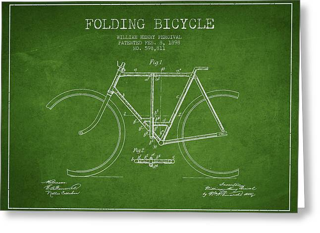 Vintage Bicycle Greeting Cards - Vintage Folding Bicycle patent from 1898 Greeting Card by Aged Pixel