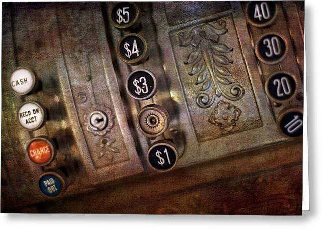 Valuable Greeting Cards - Vintage metal cash register Greeting Card by Gunter Nezhoda
