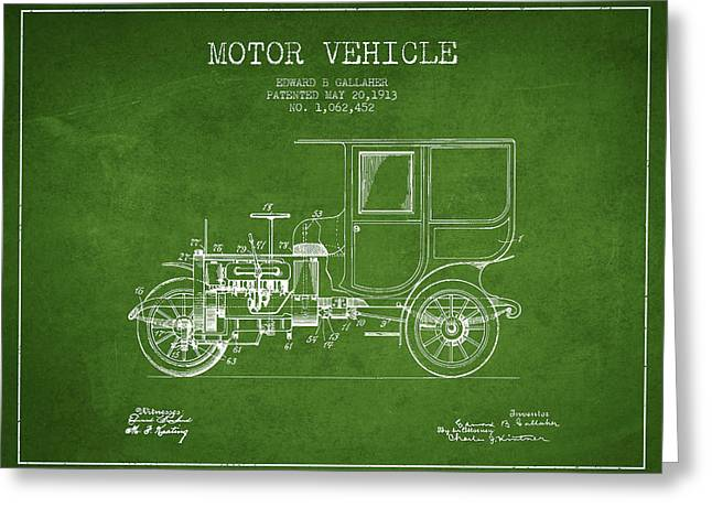 Timer Greeting Cards - Vintage Motor Vehicle patent from 1913 Greeting Card by Aged Pixel