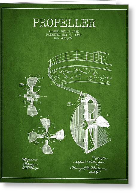 Propeller Greeting Cards - Vintage ship propeller patent from 1893 Greeting Card by Aged Pixel