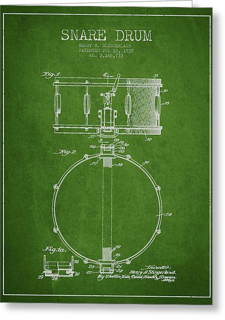 Snare Greeting Cards - Snare Drum Patent Drawing from 1939 - Green Greeting Card by Aged Pixel