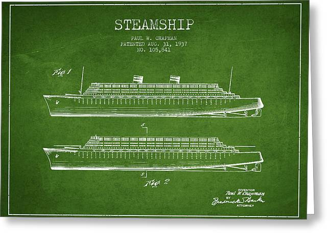 Technical Greeting Cards - Vintage Steamship patent from 1937 Greeting Card by Aged Pixel