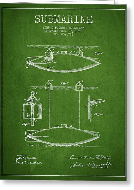 Submarines Greeting Cards - Vintage Submarine patent from 1905 Greeting Card by Aged Pixel