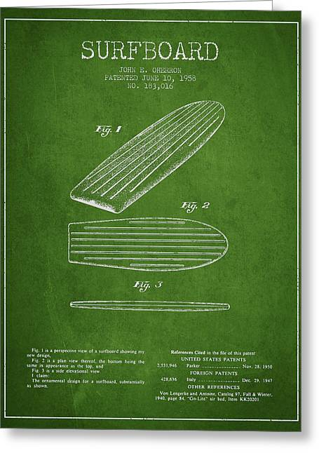 Surfer Art Greeting Cards - Vintage Surfboard  patent from 1958 Greeting Card by Aged Pixel