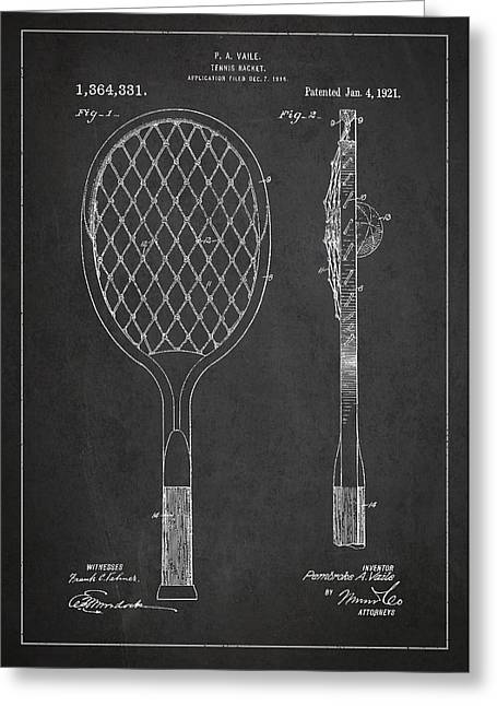 Tennis Ball Greeting Cards - Vintage Tennnis Racket Patent Drawing from 1921 Greeting Card by Aged Pixel