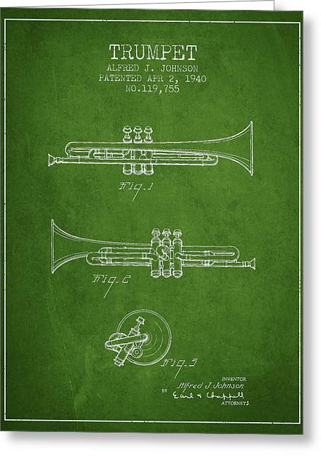 Trumpet Digital Greeting Cards - Vintage Trumpet Patent from 1940 - Green Greeting Card by Aged Pixel