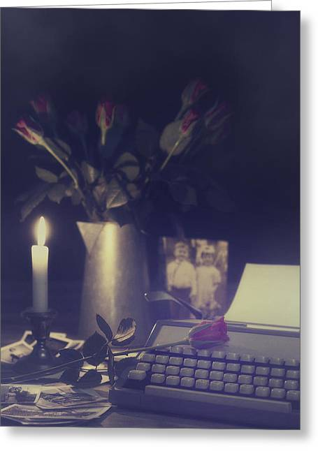 Candleholder Greeting Cards - Vintage Typewriter Greeting Card by Amanda And Christopher Elwell
