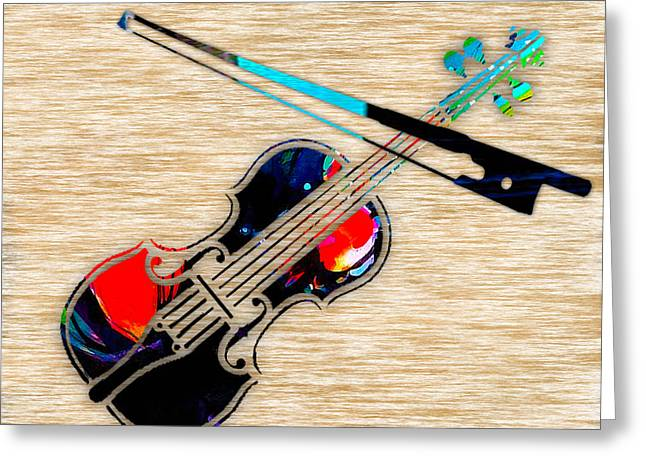 Violin Greeting Card by Marvin Blaine