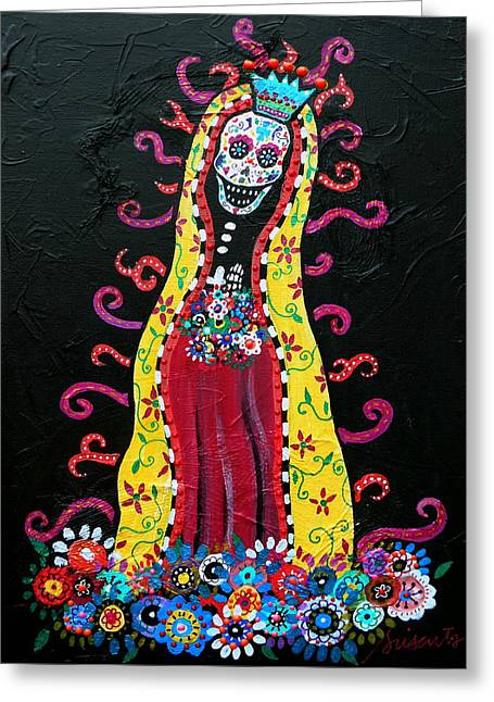 Virgin Of Guadalupe Art Greeting Cards - Virgin Guadalupe Greeting Card by Pristine Cartera Turkus