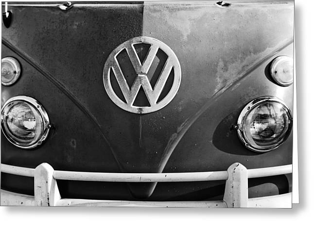 Volkswagen Greeting Cards - Volkswagen VW Bus Front Emblem Greeting Card by Jill Reger