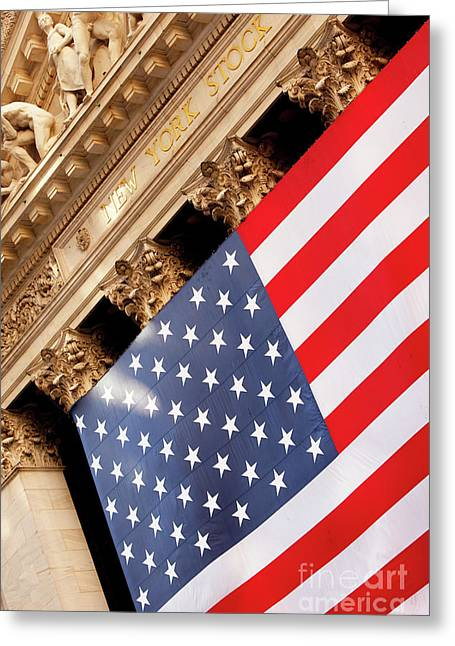 Wall Street Greeting Cards - Wall Street Flag Greeting Card by Brian Jannsen