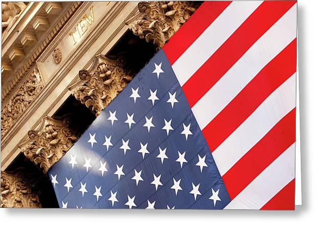 Wall Street Flag Greeting Card by Brian Jannsen
