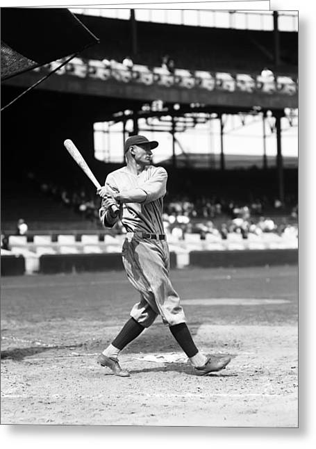 Baseball Bat Greeting Cards - Walter C Wally Pipp Greeting Card by Retro Images Archive
