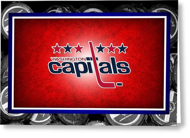 Skates Greeting Cards - Washington Capitals Greeting Card by Joe Hamilton