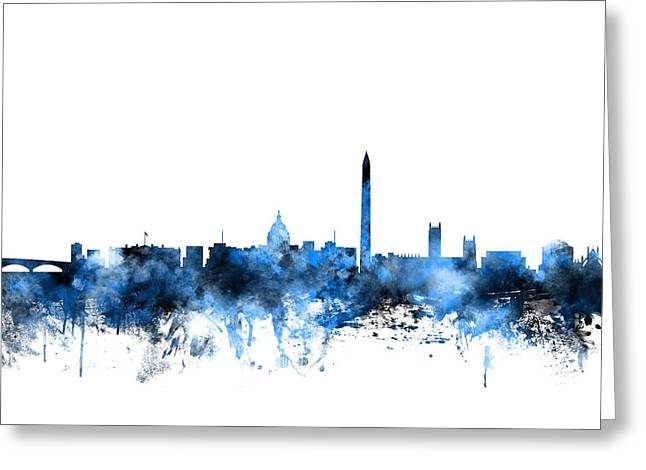 Usa Digital Art Greeting Cards - Washington DC Skyline Greeting Card by Michael Tompsett