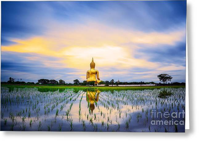 Ayuthaya Greeting Cards - Wat Muang with gilden giant big Buddha statue Greeting Card by Anek Suwannaphoom