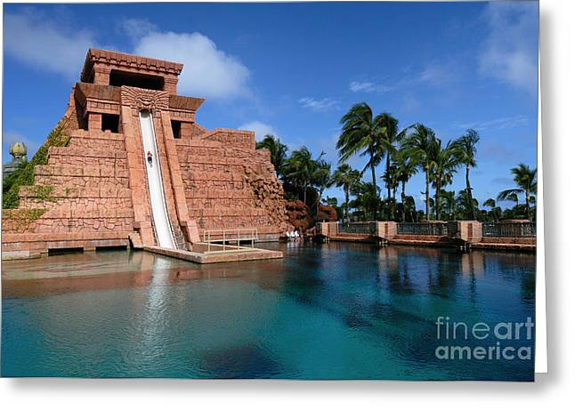 Leisure Greeting Cards - Water Slide at the Mayan Temple Atlantis Resort Greeting Card by Amy Cicconi