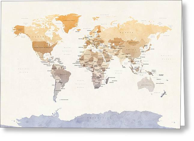 Planet Map Digital Art Greeting Cards - Watercolour Political Map of the World Greeting Card by Michael Tompsett