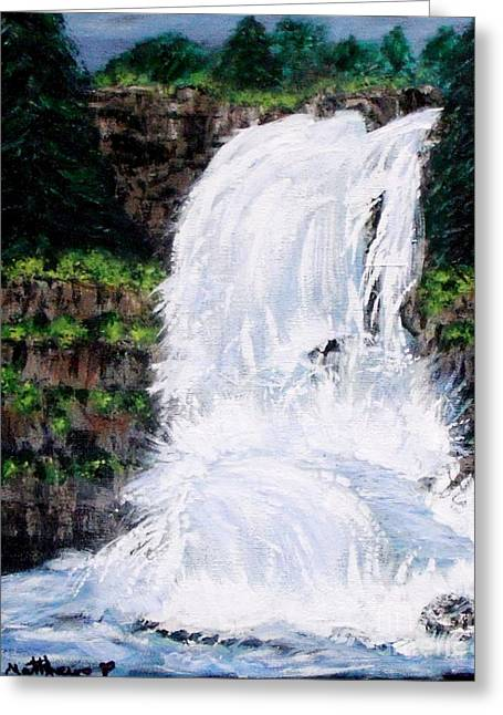 Waterfalls At Rock Canyon Greeting Card by Gail Matthews