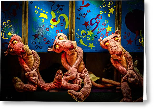 3 Wet Pink Panthers Greeting Card by Bob Orsillo