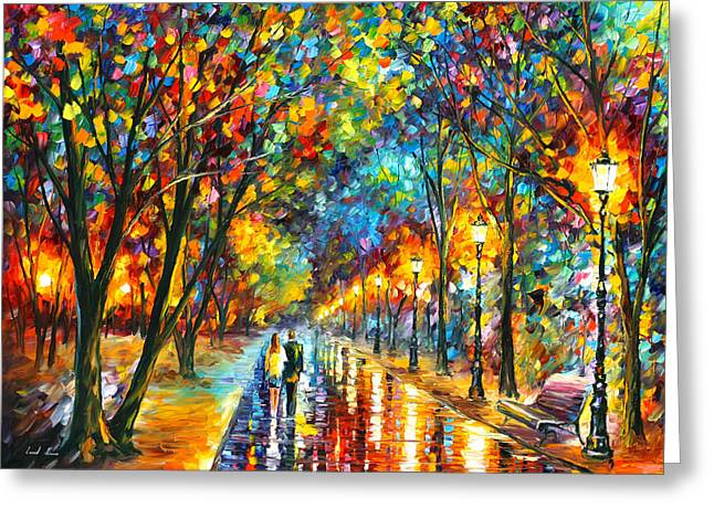 Park Scene Greeting Cards - When Dreams Come True Greeting Card by Leonid Afremov