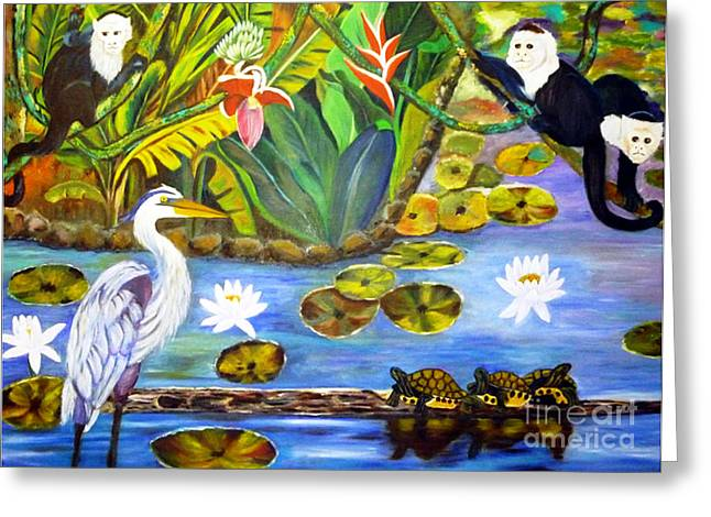 White Tapestries - Textiles Greeting Cards - On The Lotus Pond Greeting Card by To-Tam Gerwe