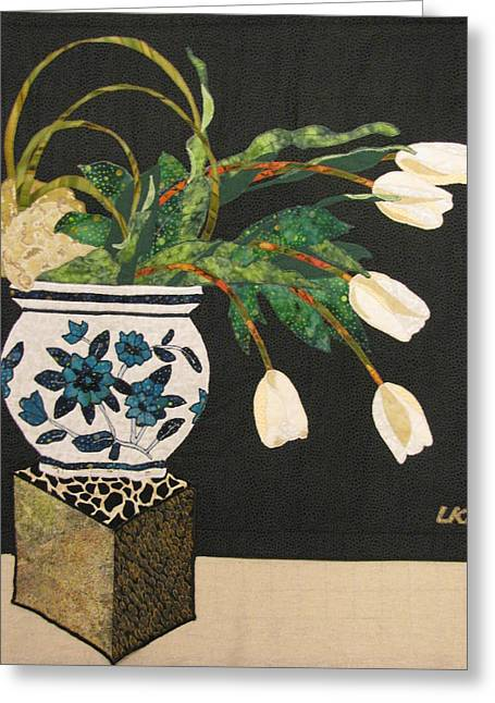 Lynda Boardman Art Tapestries - Textiles Greeting Cards - White Tulips Greeting Card by Lynda K Boardman