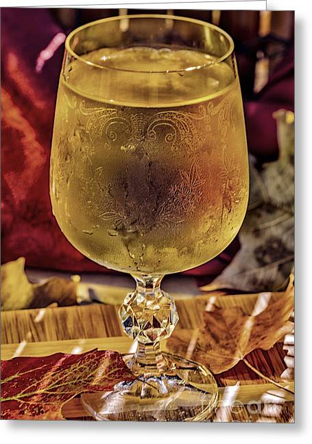 Wein Greeting Cards - White Wine in Vintage Glass Greeting Card by Iris Richardson