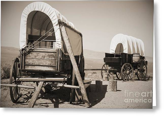Schooner Greeting Cards - Wild West Covered Wagons Greeting Card by Tony Craddock