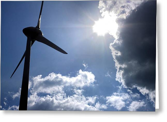 Dazzled Greeting Cards - Wind turbine Greeting Card by Bernard Jaubert