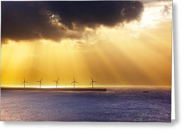 Generators Greeting Cards - Wind Turbines On Sea Greeting Card by Mikel Martinez de Osaba