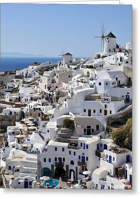 Windmills And White Houses In Oia Greeting Card by George Atsametakis