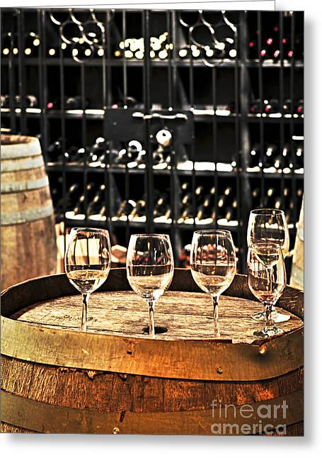 Hoops Photographs Greeting Cards - Wine glasses and barrels Greeting Card by Elena Elisseeva