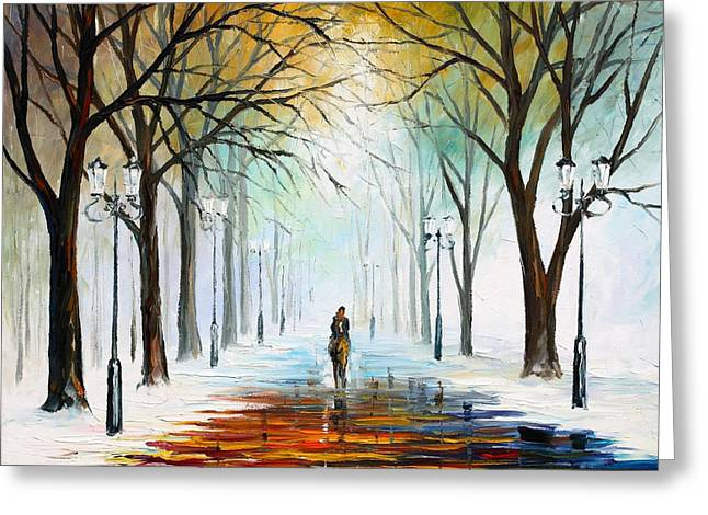 Enjoying Life Paintings Greeting Cards - Winter Mood Greeting Card by Leonid Afremov