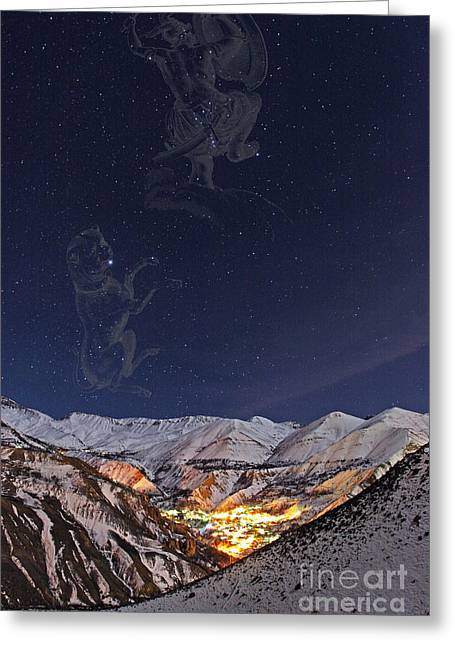 Snowy Night Greeting Cards - Winter Stars Greeting Card by Babak Tafreshi