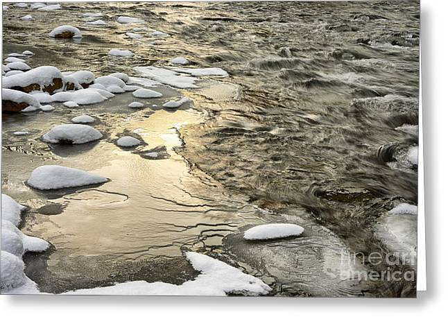 Rushing Stream Greeting Cards - Winter Sunrise Cranberry River Greeting Card by Thomas R Fletcher