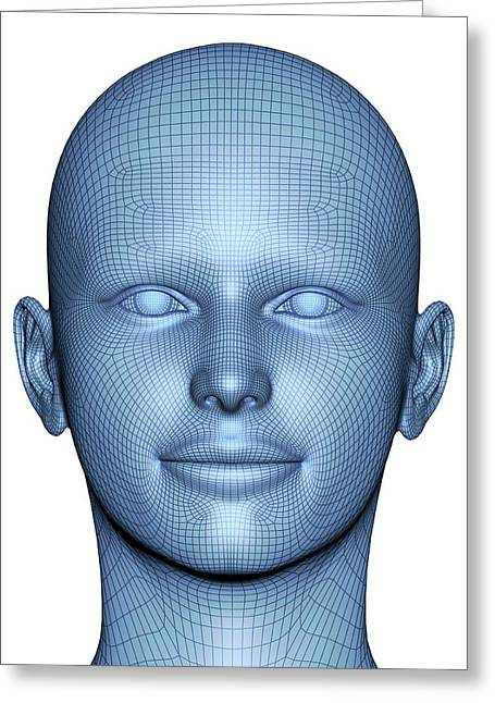 Wireframe Head Greeting Card by Alfred Pasieka