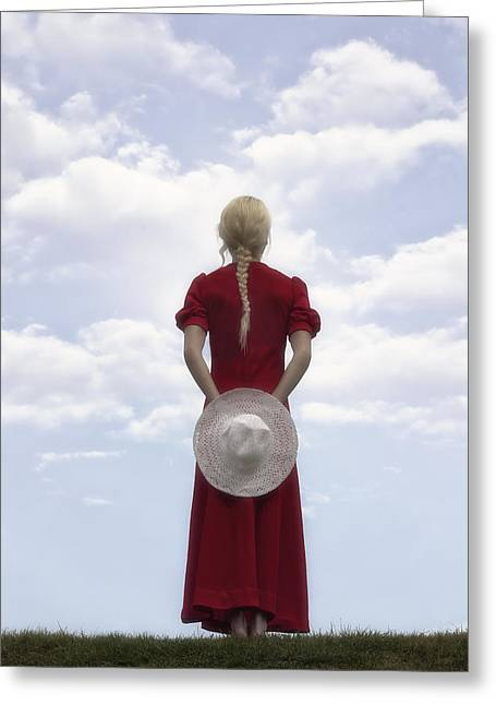 Sunhat Greeting Cards - Woman In Red Greeting Card by Joana Kruse