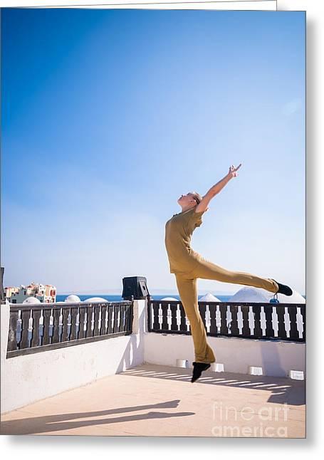 Personal Trainer Greeting Cards - Woman practicing yoga dancing Greeting Card by Nikita Buida