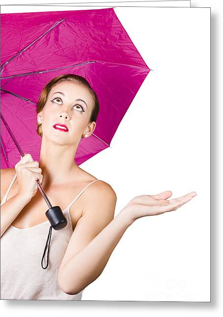 Concern Greeting Cards - Woman with umbrella Greeting Card by Ryan Jorgensen